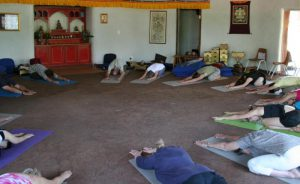 Yoga retreat in the Octagon meditation hall, one of the Four Wings of activity